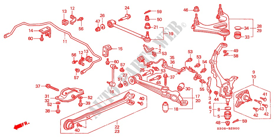 REAR LOWER ARM for Honda Cars PRELUDE TYPE-S 2 Doors 5 speed manual 2000