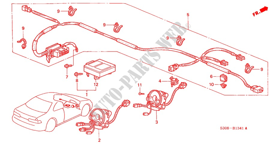 SRS UNIT (RH) for Honda Cars PRELUDE VTEC 2 Doors 5 sd ... H Egr Valve Wiring Diagram on