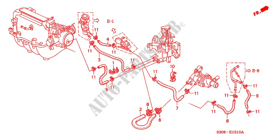 WATER HOSE (SOHC) for Honda Cars PRELUDE 2.0I 2 Doors 5 speed manual 1998