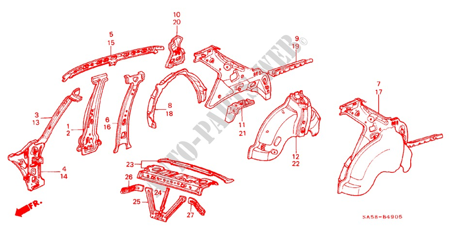 BODY STRUCTURE COMPONENTS (6) for Honda Cars ACCORD STD 4 Doors 5 speed manual 1985