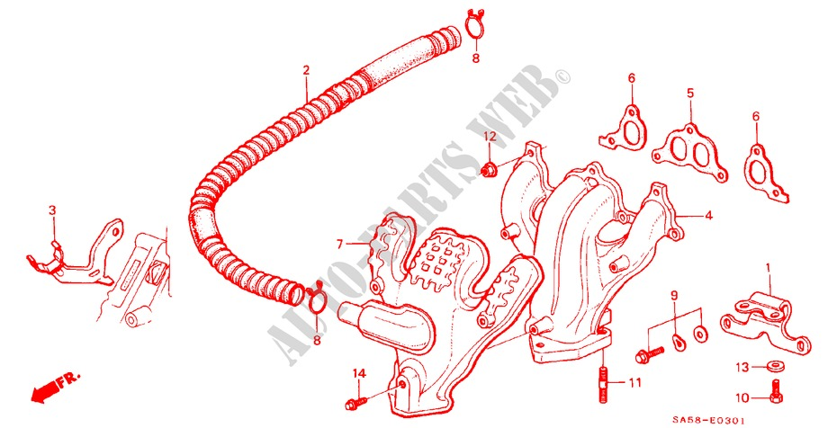 EXHAUST MANIFOLD for Honda Cars ACCORD STD 4 Doors 5 speed manual 1985