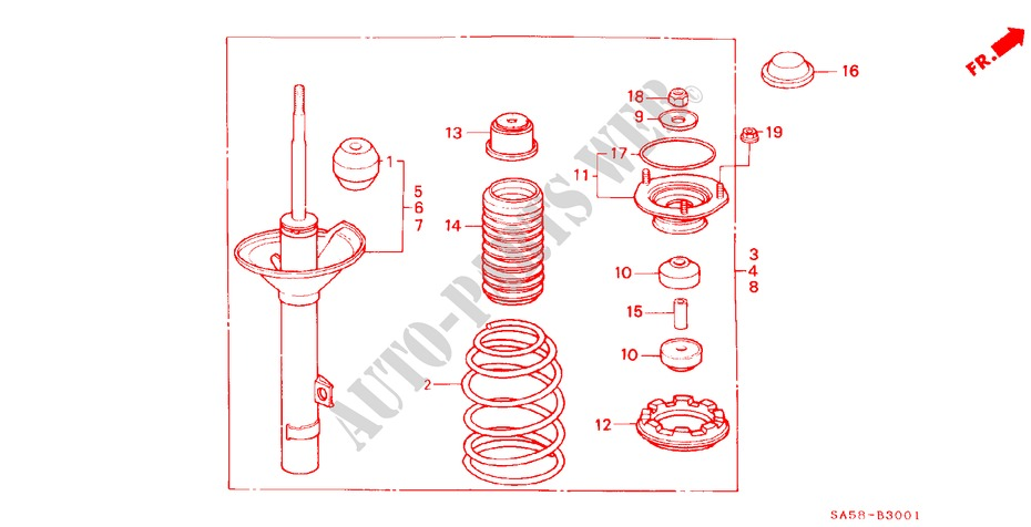 REAR SHOCK ABSORBER for Honda Cars ACCORD STD 4 Doors 5 speed manual 1985