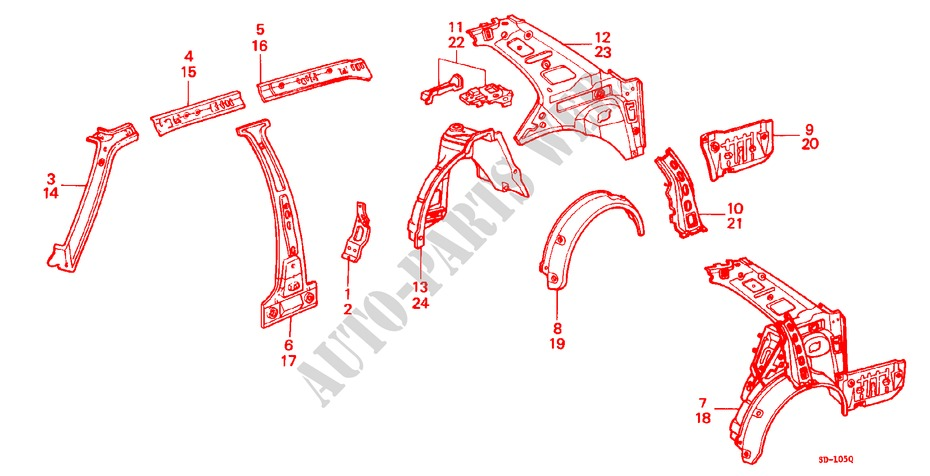 BODY STRUCTURE COMPONENTS (10)(SEDAN) for Honda Cars CIVIC STD 1200 4 Doors 3 speed automatic 1982