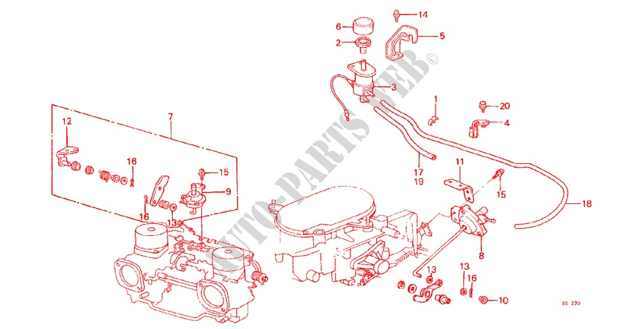CARBURETOR COMP. (FOR AIR CONDITIONER) for Honda Cars CIVIC STD 1200 4 Doors 3 speed automatic 1982