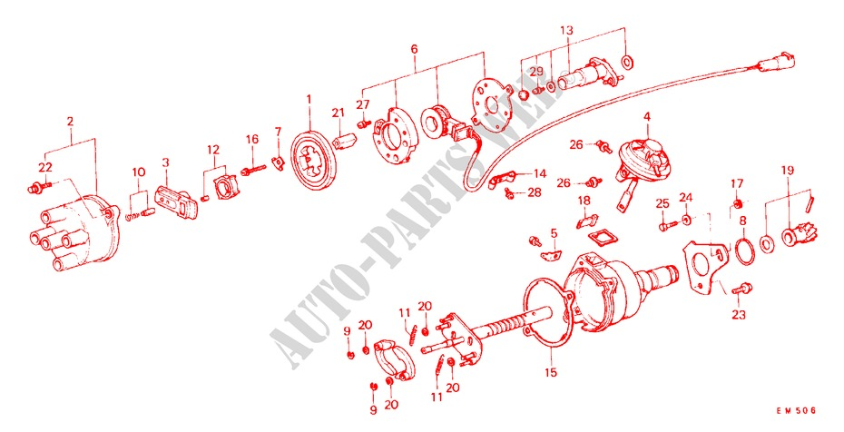 DISTRIBUTOR COMPONENTS (TEC) for Honda Cars CIVIC STD 1200 4 Doors 3 speed automatic 1982