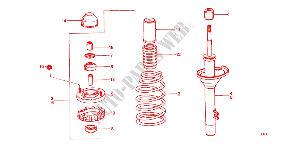 REAR SHOCK ABSORBER for Honda Cars CIVIC STD 1200 4 Doors 3 speed automatic 1982