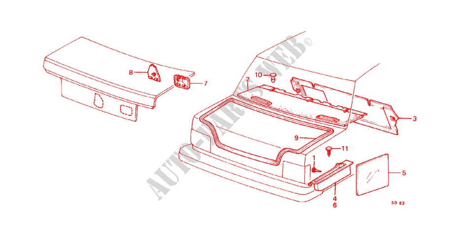 REAR TRAY/TRUNK SIDE TRAY (SEDAN) for Honda Cars CIVIC STD 1200 4 Doors 3 speed automatic 1982