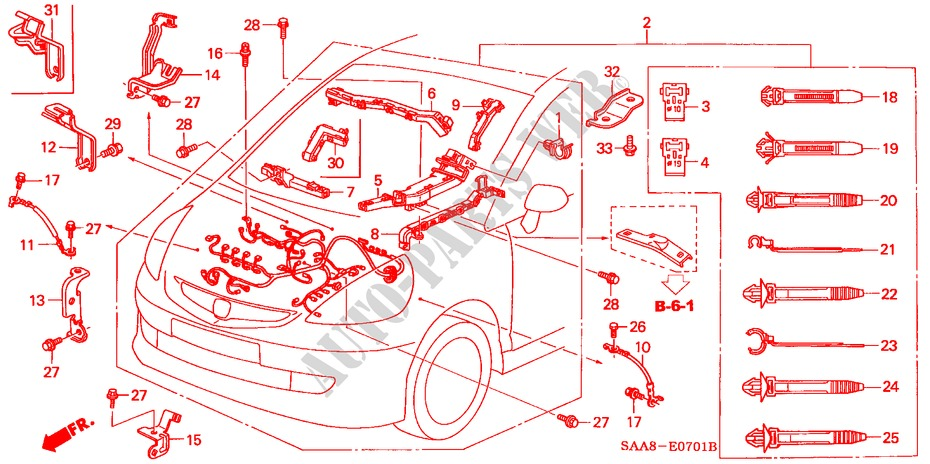 engine wire harness for honda cars jazz 1 4lx 5 doors 5 speed manual Honda Car Engine Parts Diagram Air Intake