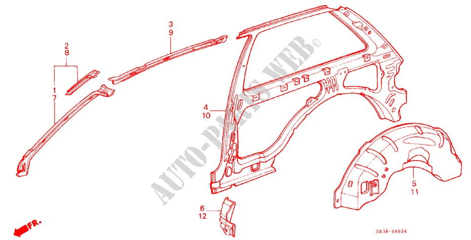 BODY STRUCTURE COMPONENTS (5)(2D) for Honda Cars CIVIC GL 3 Doors 5 speed manual 1985