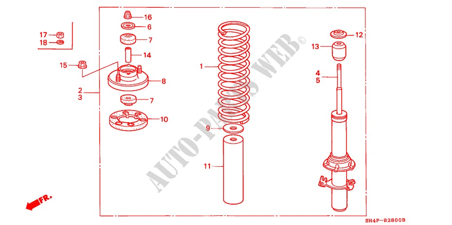 FRONT SHOCK ABSORBER for Honda Cars CIVIC GL 4 Doors 4 speed automatic 1988