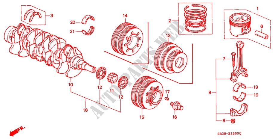 honda cars civic 1992 el 5 speed manual engine piston/crankshaft