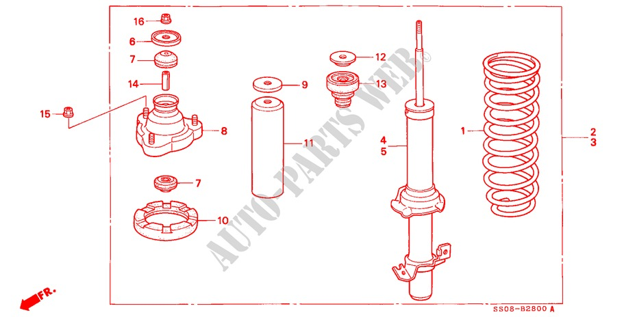 FRONT SHOCK ABSORBER for Honda Cars PRELUDE SI 2 Doors 5 speed manual 1996