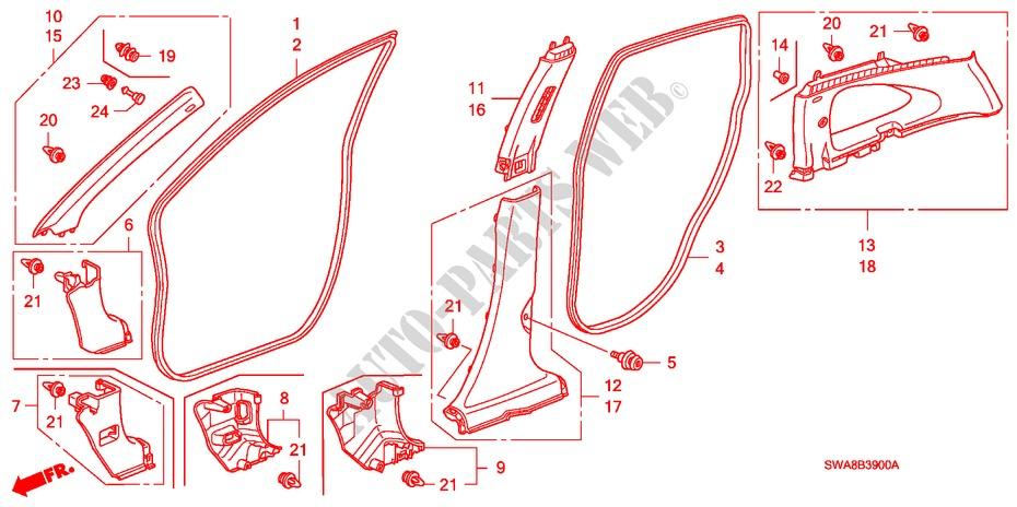 Genuine Honda 72315-S84-A01ZB Door Seal