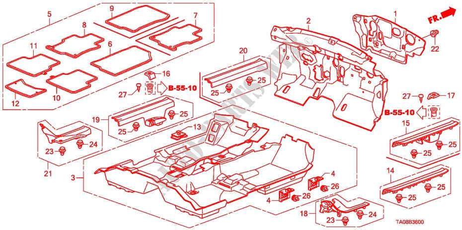 Honda Genuine 83602-TA0-A01ZB Floor Mat Left Front