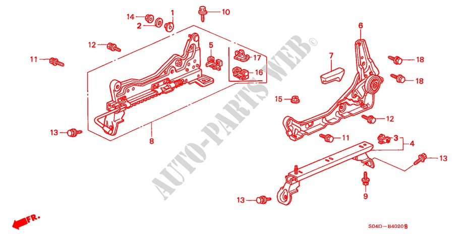 FRONT SEAT COMPONENTS (L.)(1) for Honda Cars BALLADE 150I 4 Doors 5 speed manual 1998