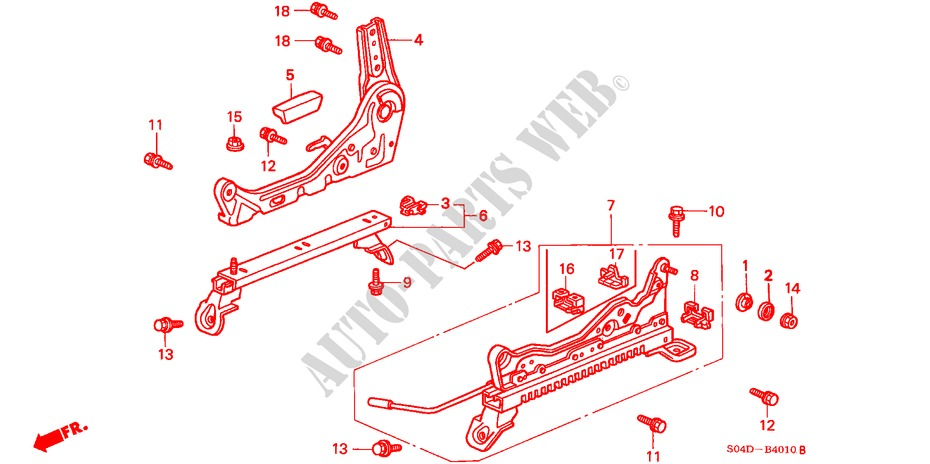 FRONT SEAT COMPONENTS (R.)(1) for Honda Cars BALLADE 150I 4 Doors 4 speed automatic 1998