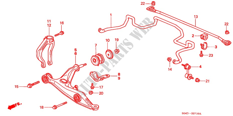 FRONT STABILIZER/ FRONT LOWER ARM for Honda Cars BALLADE 150I 4 Doors 4 speed automatic 1998
