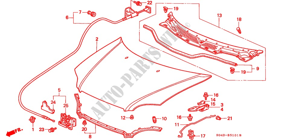 HOOD (RH) for Honda Cars BALLADE 150I 4 Doors 5 speed manual 1998