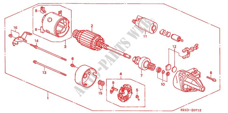 Starter Motor Mitsubishi Engine Lxi 2000 Civic Honda Cars Honda