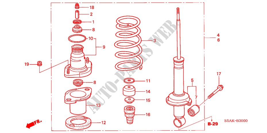 Rear Shock Absorber For Honda Cars Civic Exi 4 Doors 5