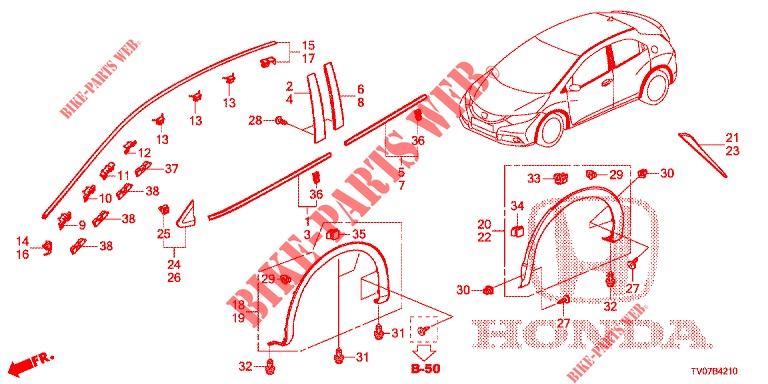 Genuine Honda Roof Molding 73153-T0A-A11