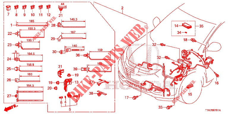 Wire Harness  Lh   2  For Honda Cars Hr
