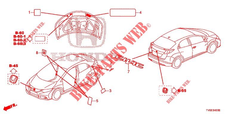 EMBLEMS/CAUTION LABELS for Honda Cars CIVIC SEL 1.6 GT 5 ... on car diagram without labels, car diagram with titles, car drawing with labels, car parts with labels, car model with labels, motor car with labels, car diagram with parts labeled,